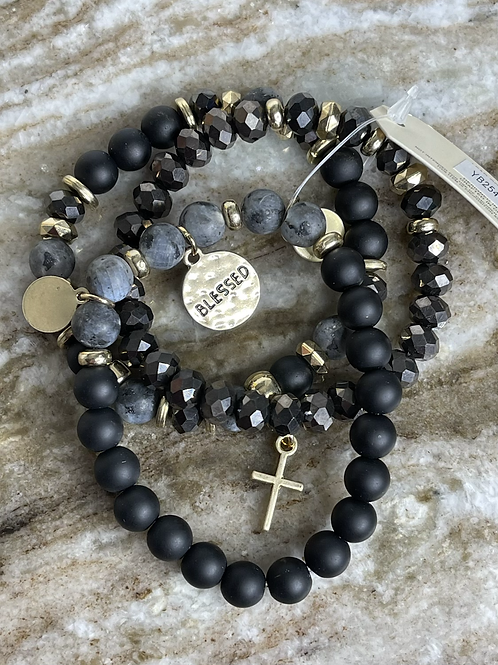 Blessed Stone Beaded Coin Stretch Bracelet Set BLK