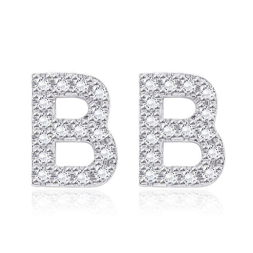 Initial Studs Earring in 18K White Gold Plated with Swarovski Crystals