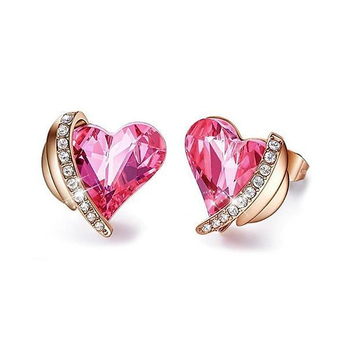 Pink Topaz Heart Stud 18K White Gold Plated