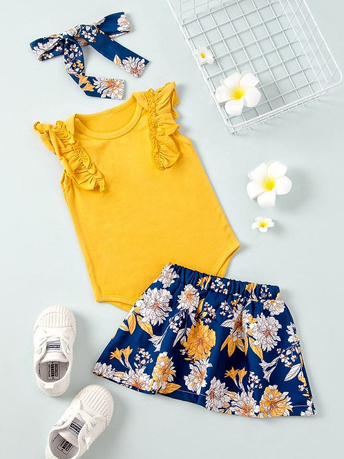 3-Piece Baby Girl Yellow Bodysuit and Flower Skirt Hair Band Outfits