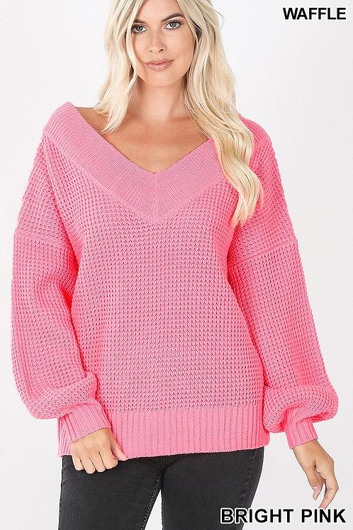 Balloon Sleeve V Neck Sweater