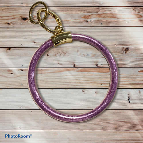 Purple Glitter Ring Keychain