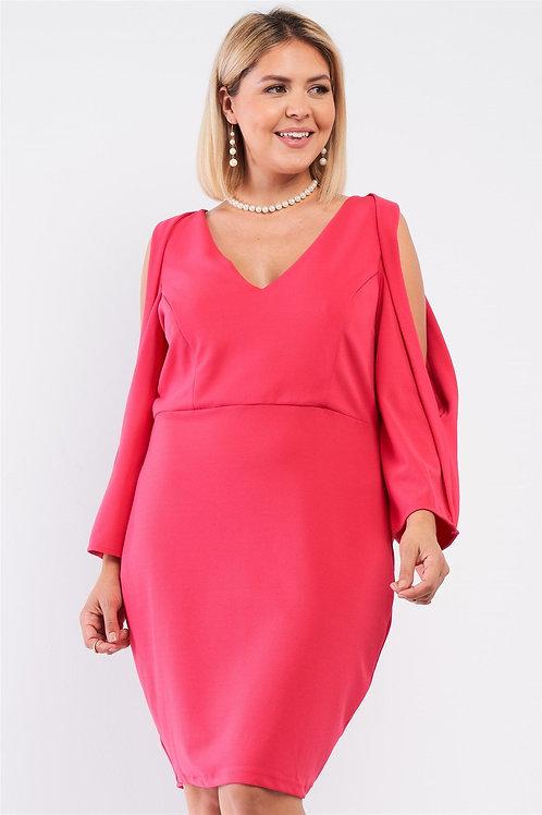 Plus Coral Pink Plunging V-neck Long Slit Sleeve Detail Mini Dress