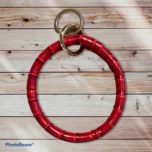 Bamboo red leather keychain