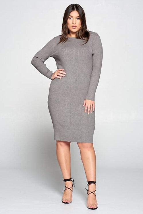 Gray Ribbed Knit Bodycon Dress
