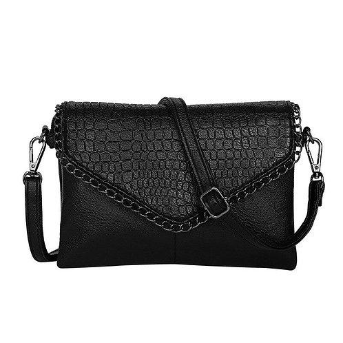 Women Crossbody Bag Black Alligator PU Leather Envelope Bags for Woman