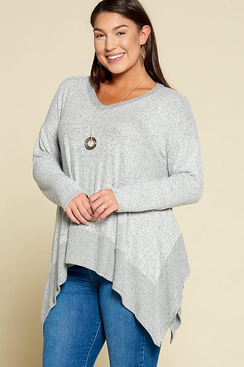 Plus Size V Neck Casual Hacci Brush Top