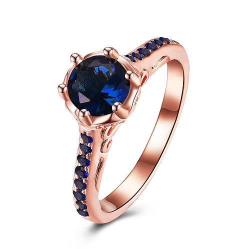 18K Rose Gold Plated Blue Sapphire Océane  Ring made with Swarovski