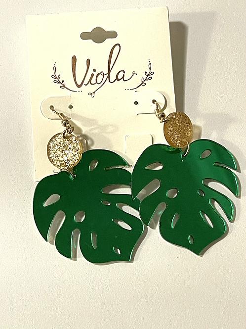 Fun Green Leaf Earrings