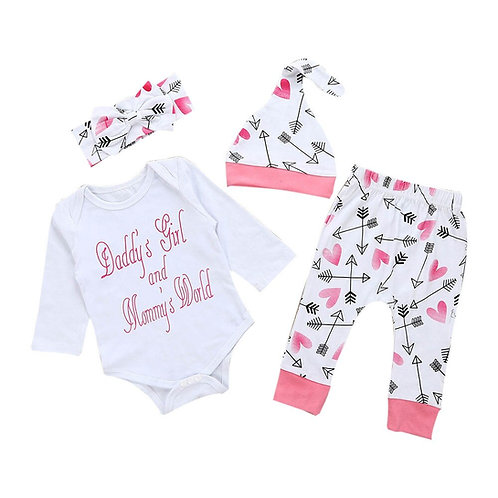 New Newborn Infant Baby Girl Clothes Letter