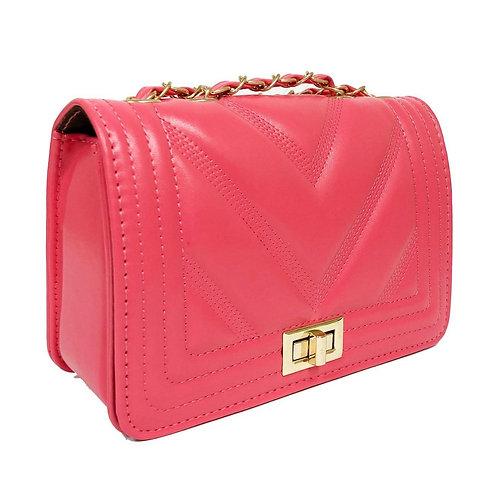 Coral Leather Chevron Quilt Bag
