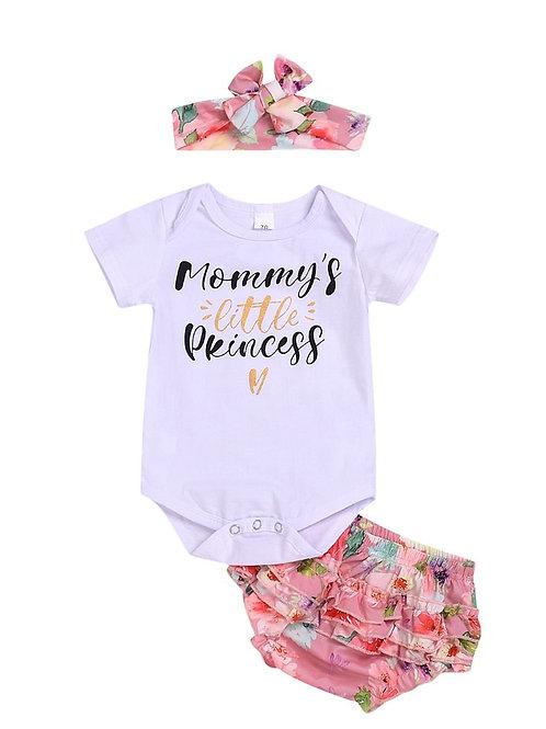3-Piece Mommy's Little Princess Print Bodysuit