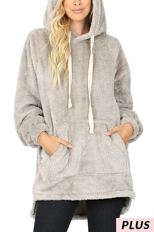 Hooded Faux Fur Kangaroo Pocket Sweater PLUS