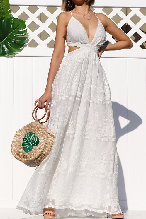 Off White  Laced Open Back Maxi dress