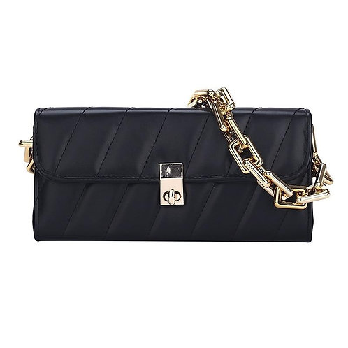 Fashion Chain Under-arm Handbag for Ladies Solid Color Phone Coin