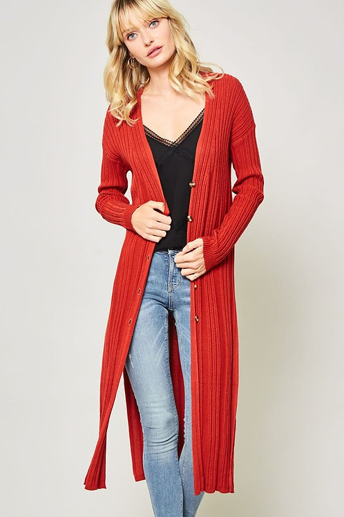 Red Button-Front Ribbed Knit Duster Cardigan
