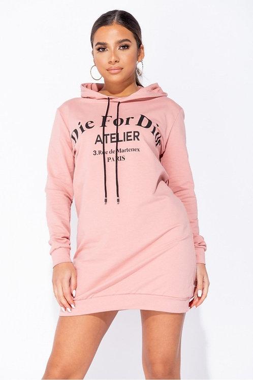 Rose Die for Dior Hooded Jumper Dress