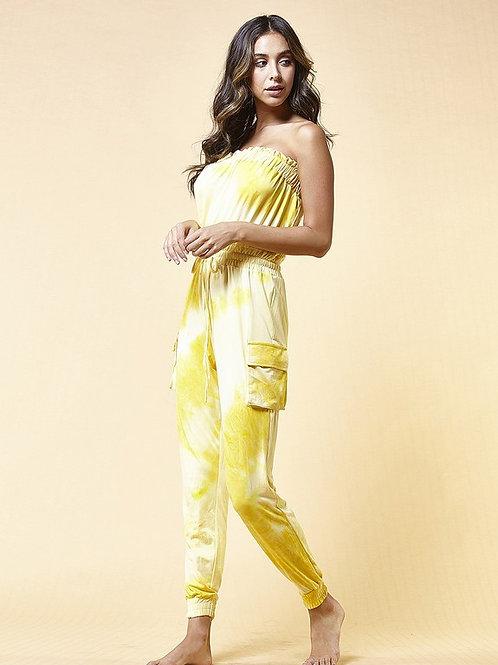 Yellow Tye Dye Tube Jumpsuit