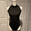 Thumbnail: Mock neck sleeveless back cut out detail sexy bodysuit Bottom snap button