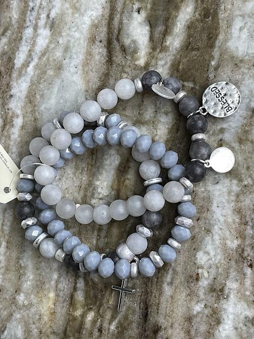 Stone Beaded Coin Stretch Bracelet Set GR