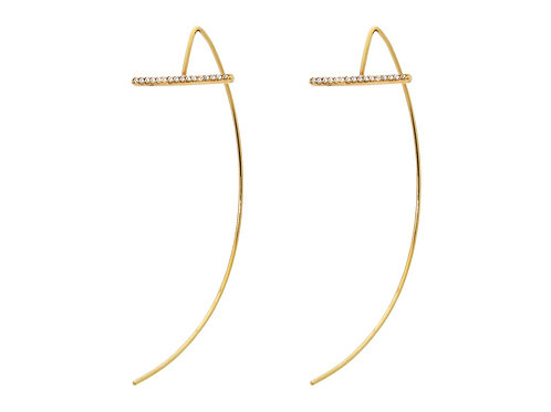 Half Hoops CZ Bar Earrings Sterling Silver