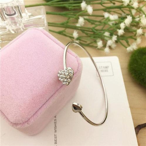Adjustable Crystal Double Heart Cuff Opening Bangle Bracelet