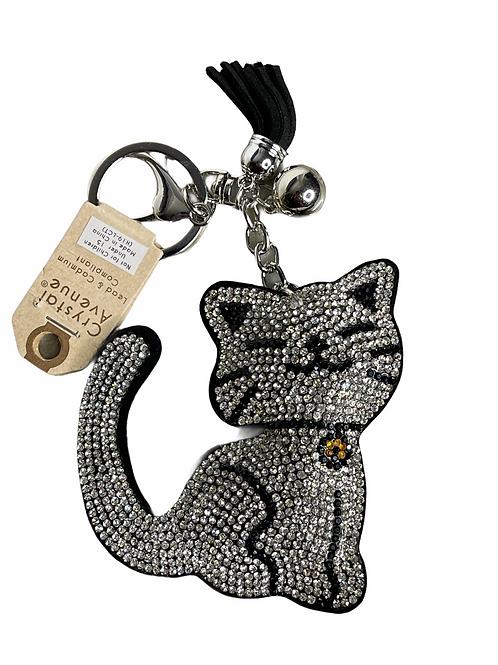 Silver kitty puffy keychain