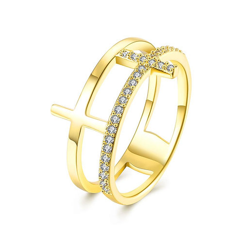 18K Gold Plated Duo Cross Pave Ring made with Swarovski Crystals