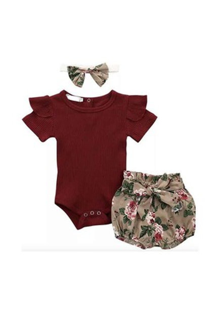 Maroon romper with floral print shorts set