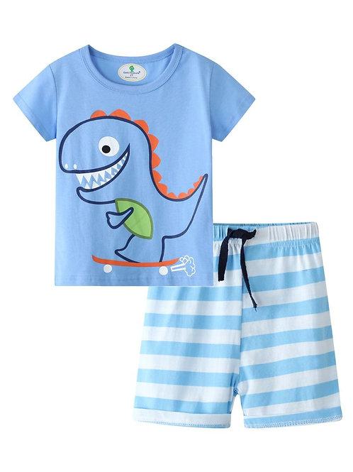 2-Piece Little Boy Cartoon Dinosaur Tee and Stripe Pull-on Shorts Set