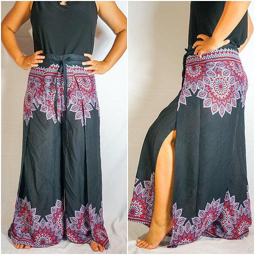 Black Floral Palazzo Wrap Pants, Hippie Pants, Boho Harem Flow Pants