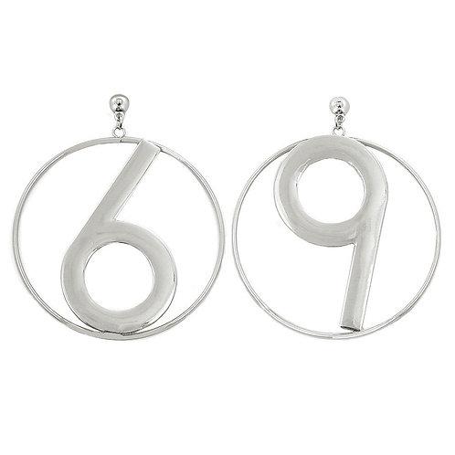 Plain 6-9 Rhodium Metal Earring