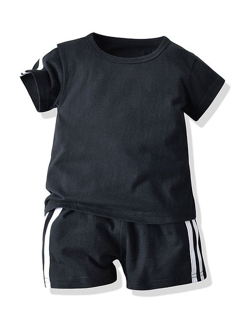 2-Piece Summer Baby Toddler Boy T-shirt and Pull-on Shorts Set