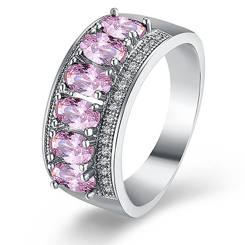18K White Gold Plated Pink Hélène Ring made with Swarovski Crystals