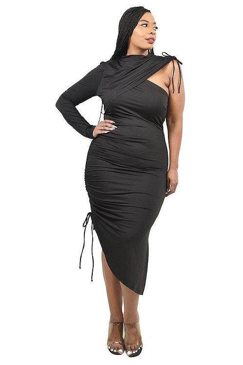 Trendy Black Plus Size  Asymmetric Women's Dress