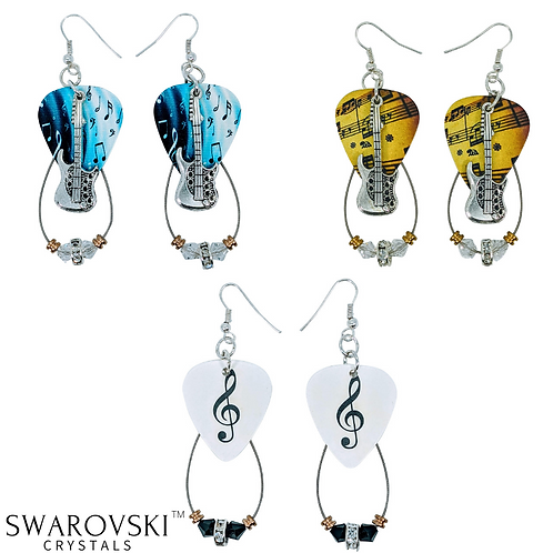 Guitar String Earnings | Swarovski™ Crystal Guitar Pick Earnings