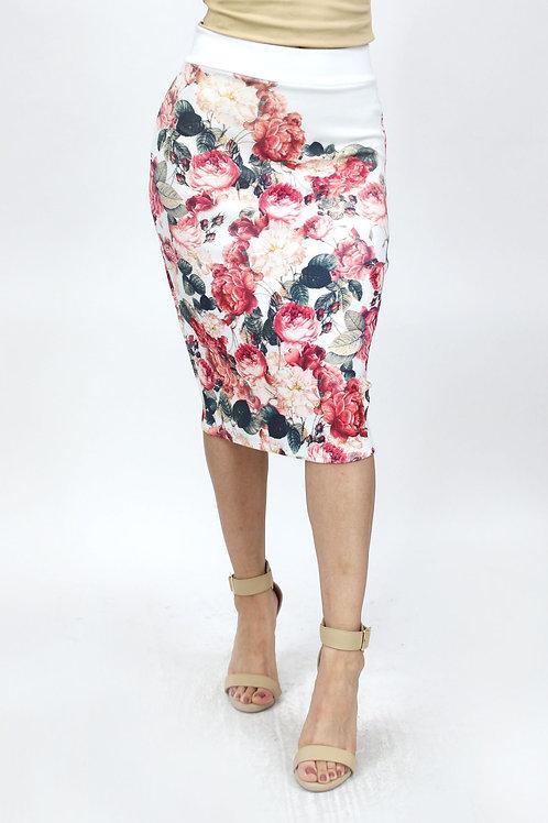 Rose Print Body Conscious Skirt