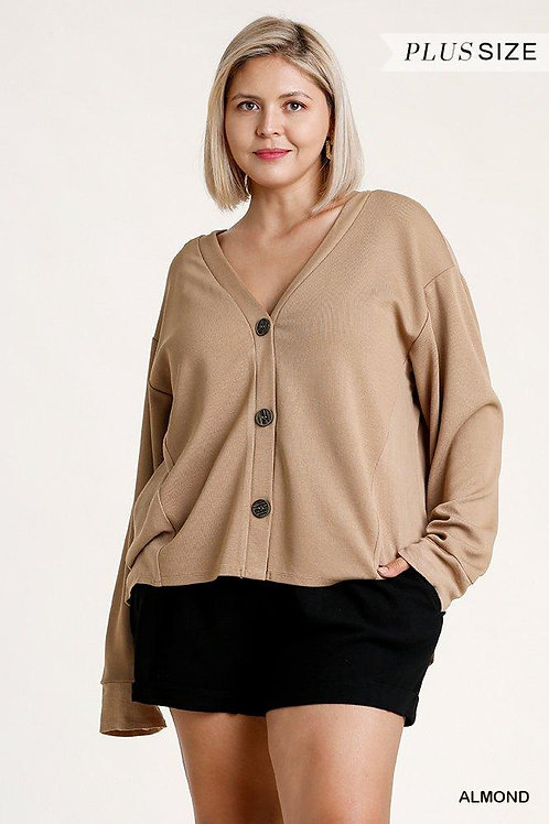 Linen Blend Button Down Cardigan With High Low Hem