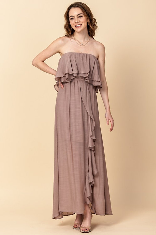 Off The Shoulder Maxi Dress with front slit and ruffle