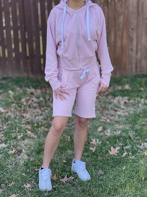 Pink Fleece Jacket and Short Set