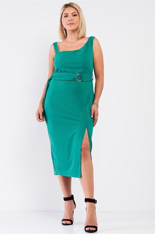 Plus Sleeveless Asymmetrical Shoulder Front Slit Detail Belted Dress