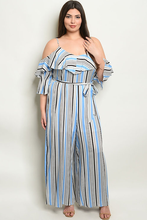 Womens Stripes Plus Size Jumpsuit