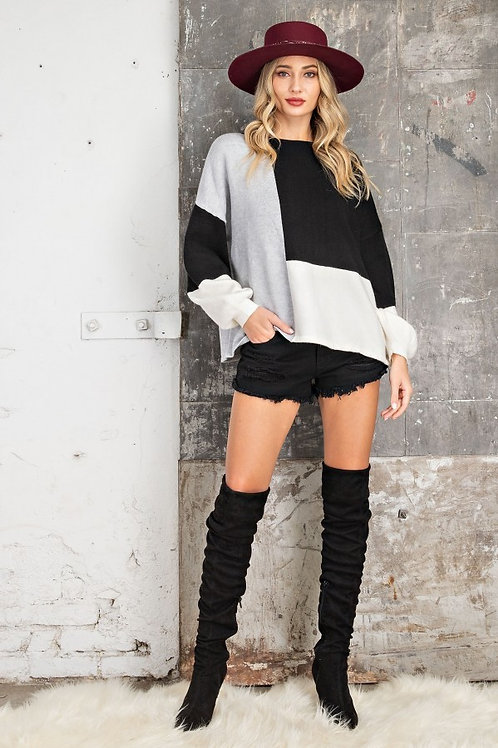 Black and Grey Color Block Sweater