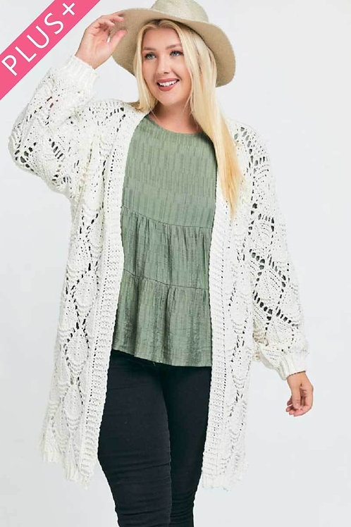 Off White Plus Size Textured Long Sleeve Long Cardigan