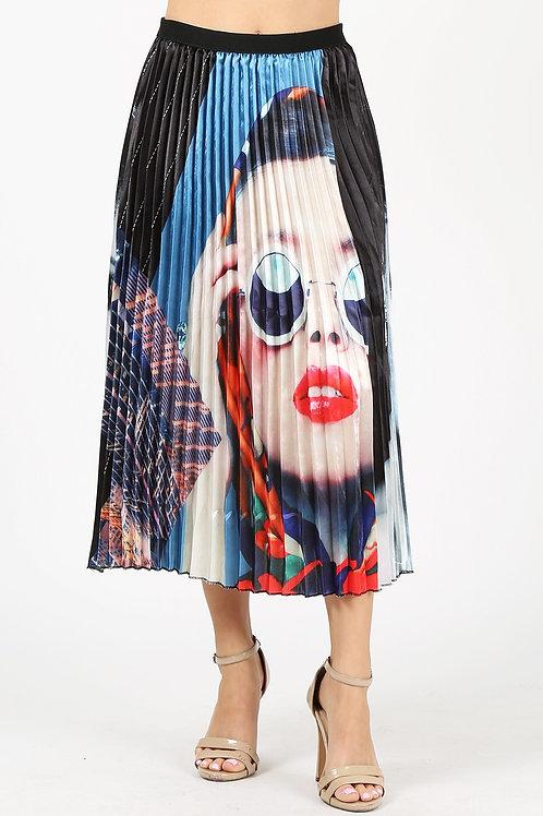 Bold Lip Pleated Skirt