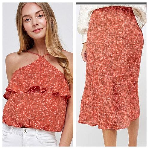 Polka Dot Triangle Halter Ruffle Blouse and Matching Skirt