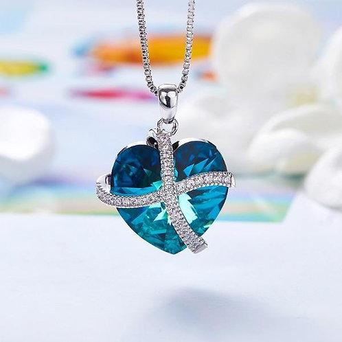 Bermuda Blue Swarovski Sleek Heart Pav'e Lining Necklace in 14K White