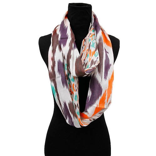 Lightweight Orange, Brown, Purple, and Teal Dual Patterned Infinity