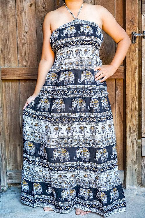 Elephant Boho Maxi Dress, Hippie Dress, Gypsy