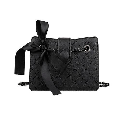Fashion Trend Rhombus Pattern Women Shoulder Bag Bow Chain Cross Body